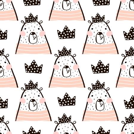 Naadloze patroon met schattige meisje Beer draagt prinses. Perfect voor stof, textiel. Vector achtergrond