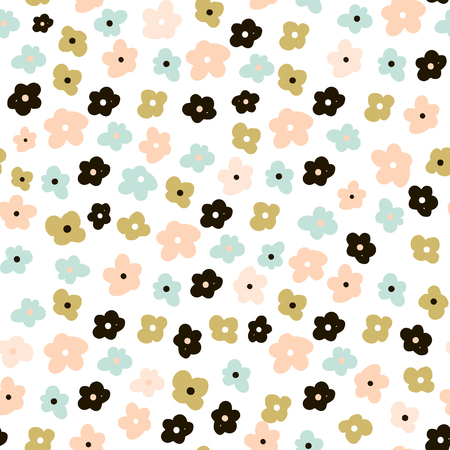 Floral seamless pattern with cute flowers. Flowers surface design vector background  イラスト・ベクター素材