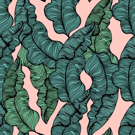 手描きの熱帯でのシームレスなパターンを残します。トレンディなヤシの枝。ベクトル図
