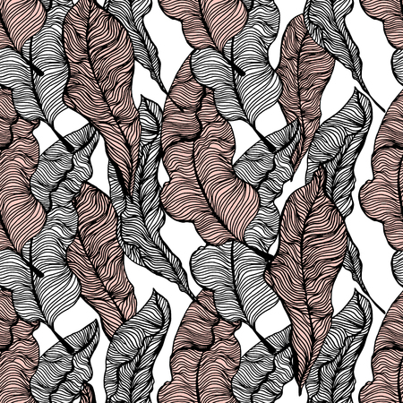 Seamless pattern with hand drawn tropical leaves. Trendy palm branches. Vector illustration Çizim