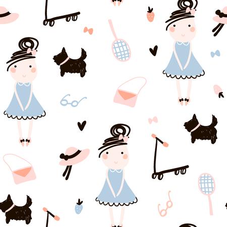 Creative kids seamless pattern. Childish texture for fabric, textile.Vector Illustration Illustration