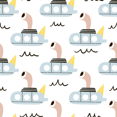 Seamless pattern with cartoon submarine . Childish texture for fabric, textile. Vector background