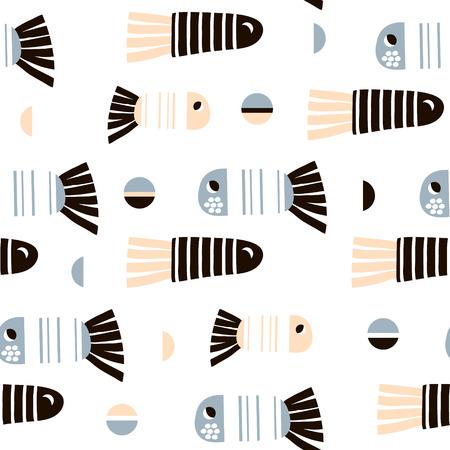 만화 물고기와 원활한 패턴입니다. 패브릭, 섬유에 대 한 유치 한 질감입니다. 벡터 배경