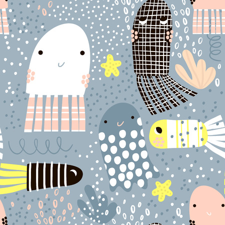 Seamless pattern with sea animal jelly fish, fish. Undersea Childish texture for fabric, textile. Vector background
