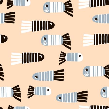 Naadloos patroon met beeldverhaalvissen. Kinderachtige textuur voor stof, textiel. Vector achtergrond Stock Illustratie