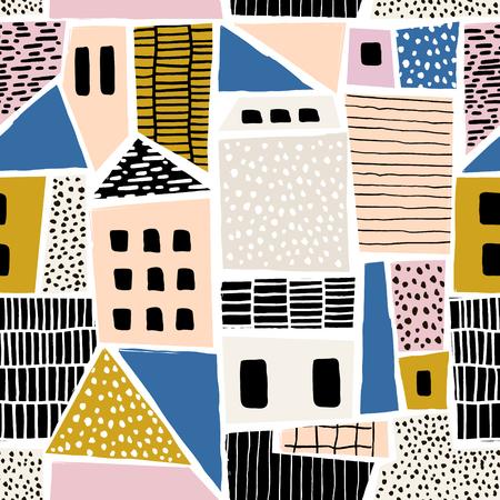 Astratto senza soluzione di pattern con case con texture disegnate a mano e forme. Perfetto per fabric.textile, carta da parati. Illustrazione Vettoriale Archivio Fotografico - 85327488