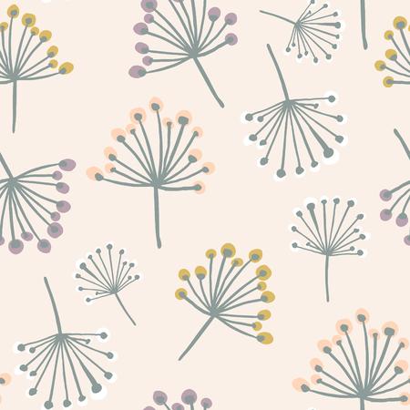 파스텔 색상에서 꽃 분기와 우아한 원활한 패턴입니다. 스 칸디 나 비아 스타일 벡터 배경입니다. 직물, 섬유, 벽지에 좋습니다. 일러스트