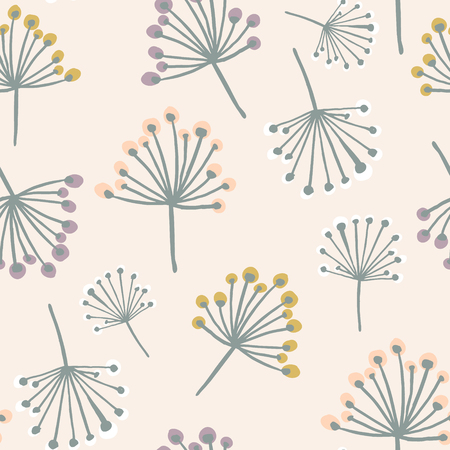 Elegant seamless pattern with flower branch in pastel colors. Scandinavian style vector background. Great for fabric,textile,wallpaper Ilustração