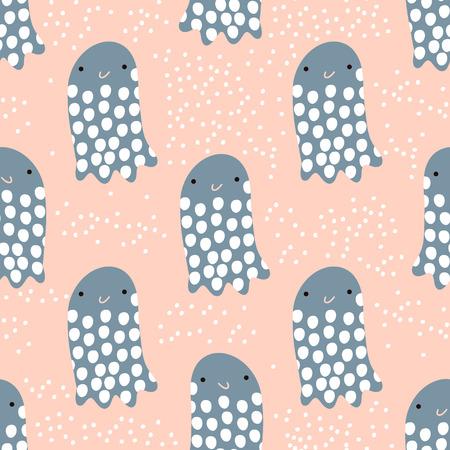 Naadloos patroon met overzeese dierlijke kwallen, vissen. Onderzeese Kinderachtige textuur voor stof, textiel. Vector achtergrond Stockfoto - 85327457