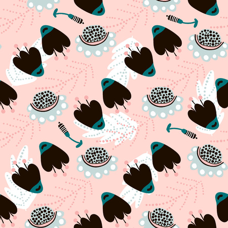 Floral seamless pattern with flowers. Creative surface design vector background Illustration