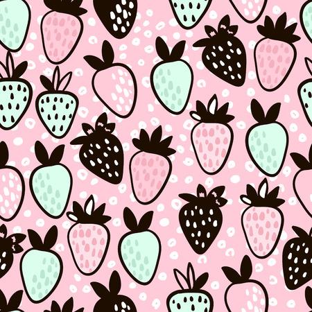 Naadloos patroon met hand getrokken aardbei. Leuke roze kinderachtige achtergrond. Vectorillustratie. Stockfoto - 85327463