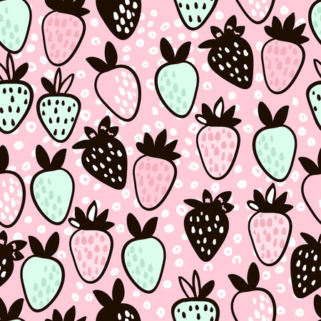 Seamless pattern with hand drawn strawberry. Cute pink childish background. Vector Illustration.