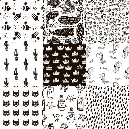 Set of 8 creative scandinavian style childish patterns. All samples are in swatches panel. Vector kids background 向量圖像