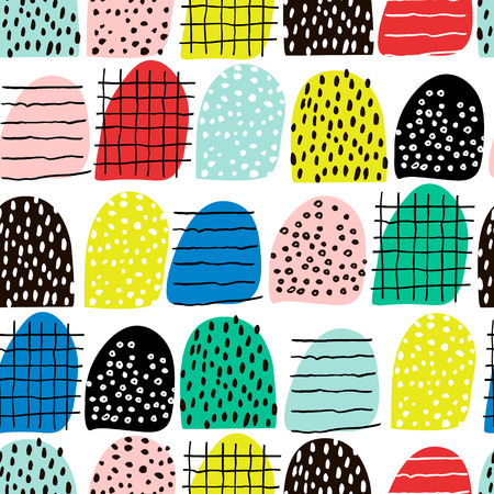 Seamless abstract pattern with hand drawn shapes and elements. Vector trendy texture. Bright creative fabric design Ilustração