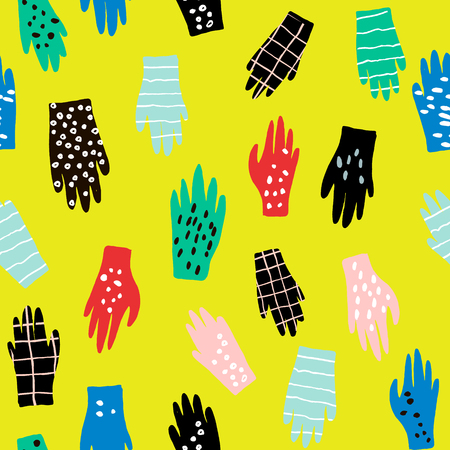 Creative seamless pattern with gloves. Ink drawn texture with hands. Vector illustration Illustration