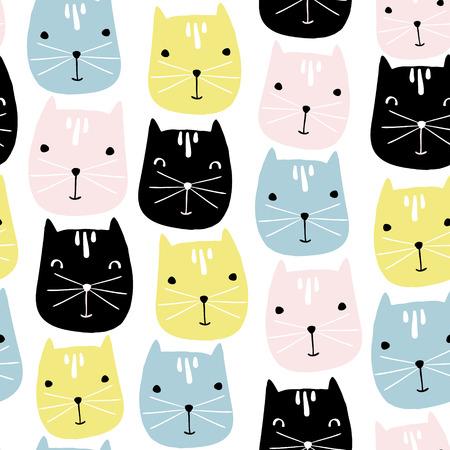 かわいい猫顔のシームレスなパターン。子供のベクトルの背景