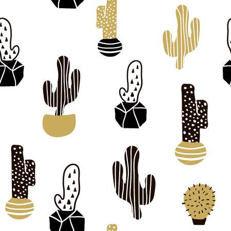 サボテンと手のシームレスなパターンは、テクスチャを描画します。生地に最適な繊維です。創造的なベクトルの背景