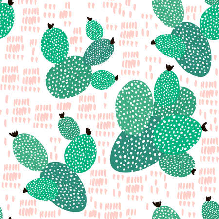 Seamless pattern with cactuses and hand drawn textures.Perfect for fabric,textile. Creative Vector background