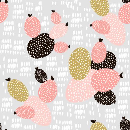 Naadloos patroon met cactussen en hand getrokken texturen. Perfect voor stof, textiel. Creatieve vector achtergrond Stockfoto - 85327451