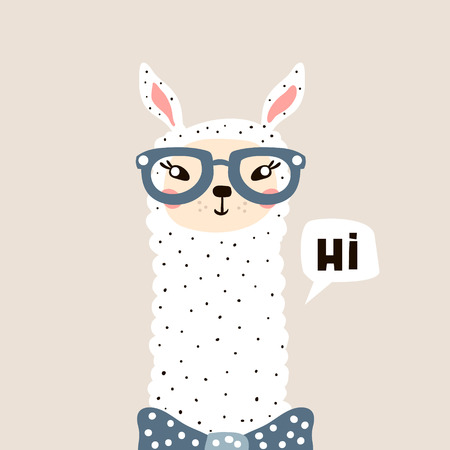 Cute Lama face. Childish print for fabric, t-shirt, poster, card, baby shower. Vector Illustrtion