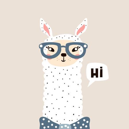 Visage de Lama mignon. Imprimé enfantin pour le tissu, le t-shirt, l'affiche, la carte, la douche de bébé. Illustration vectorielle