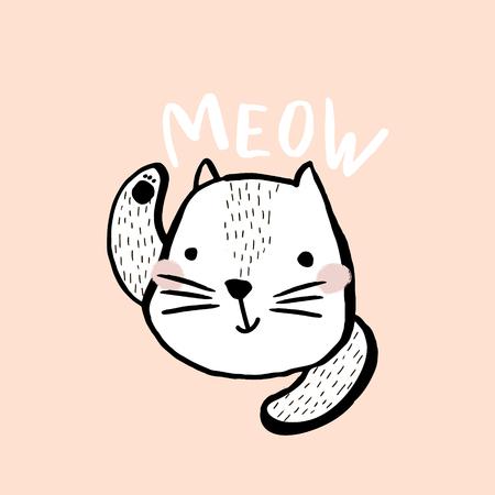 Leuke kattenillustratie met tekstmiauw. Hand getekend met borstel en inkt creatieve kinderen afdrukken. Perfectioneer voor kleding, kinderdagverblijfdecoratie, kaarten, affiches