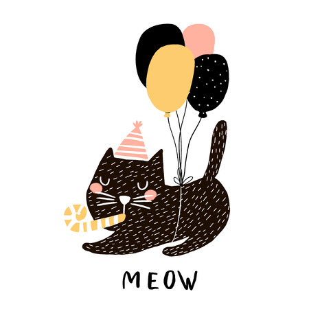 Cute cat illustration with balloons. Hand drawn with brush and ink creative kids print. Perfect for apparel, nursery decoration, cards, posters,baby shower