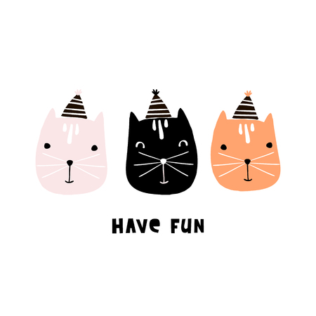 Cute cats illustration with party hats. Hand drawn creative kids print. Perfect for apparel, nursery decoration, cards, posters,baby shower