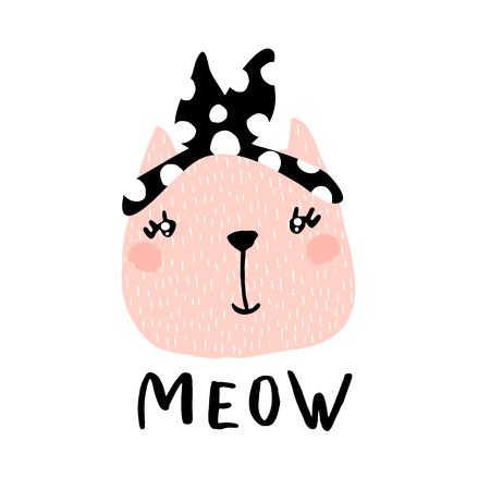 Leuke kat meisje illustratie met tekst miauw. Hand getekend met borstel en inkt creatieve kinderen afdrukken. Perfectioneer voor kleding, kinderdagverblijfdecoratie, kaarten, affiches