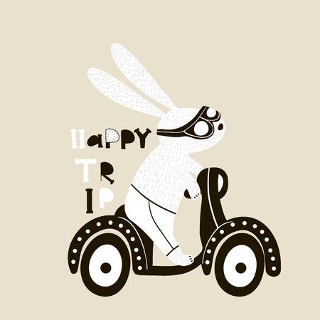 스쿠터 그림에 귀여운 토끼입니다. 아이들 의류, 포스터, 보육원을위한 토끼로 유치한 인쇄물