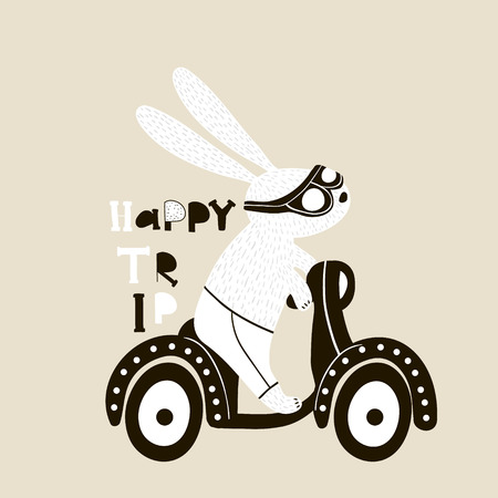Cute bunny on scooter illustration. Childish print with rabbit for kids apparel, poster, nursery