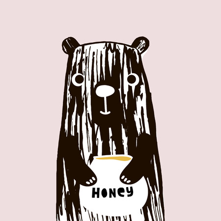 Cute bear illustration with honey Çizim