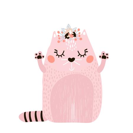 Leuk kattenmeisje met bloemenkroon dat op wit wordt geïsoleerd. Kinderachtig print voor kleding, kinderdagverblijf, kaarten, posters. Vector illustratie