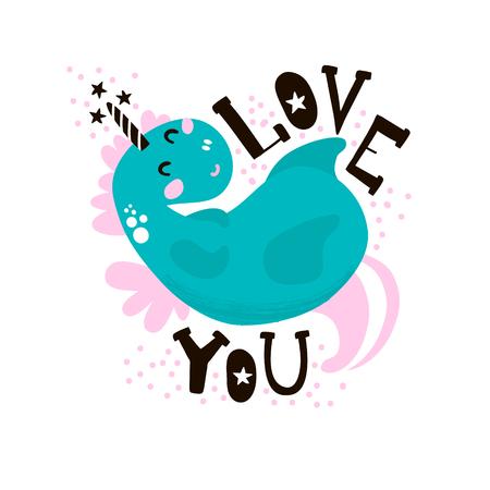 Leuke magische eenhoornprint. Klaar kinderachtig label, banner, kaarten, stickers, poster voor kinderen en babyproducten. Vectorillustratie