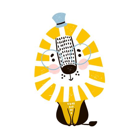 Leuke cartoonleeuw in Skandinavische stijl. Kinderachtig print voor kinderdagverblijf, kinderkleding, poster, ansichtkaart. Vector illustratie