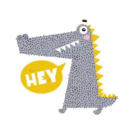 Cute cartoon crocodile print. Childish print for nursery, kids apparel,poster, postcard. Vector Illustration Vectores