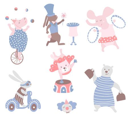 서커스 동물 벡터 클립 아트입니다. 하마, 고양이, 곰, 토끼, 코끼리, 토끼. 귀여운 유치한 캐릭터