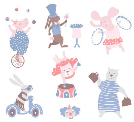 Circus animals vector clipart. Hippo, cat, bear,bunny,elephant,rabbit. Cute childish characters