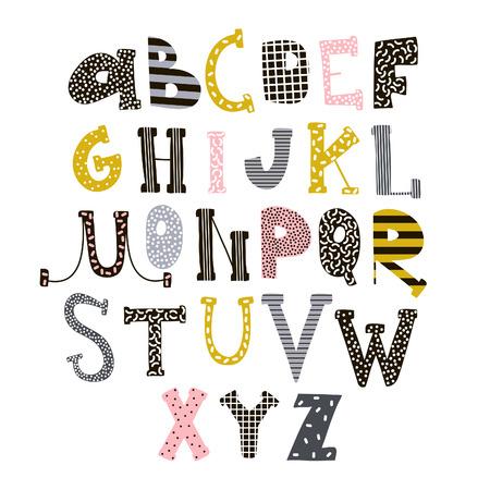Alfabeto con estilo abstracto. Fuente de Creative Kids. Ideal para la educación, decoración del hogar. Se utilizará para citas divertidas de camisetas, carteles, tarjetas y estampados de moda para niños. Ilustración vectorial