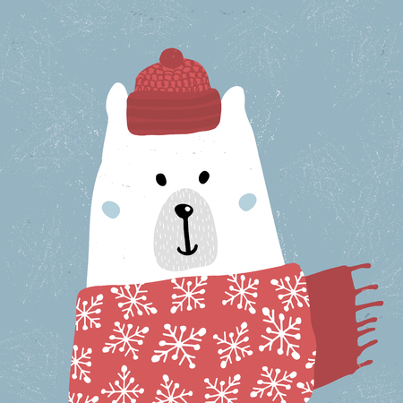 Cute winter polar bear in scarf and hat. Holiday and christmas illustration. It can be used for greeting card, posters, apparel Çizim