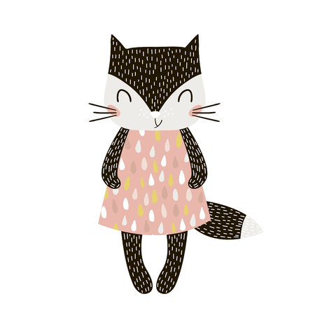 Chica linda del gato de la historieta en estilo escandinavo. Impresión infantil para guardería, ropa de niños, póster, postal. Ilustración vectorial Ilustración de vector