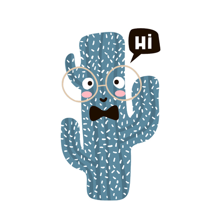christmas cactus: Cute cartoon cactus in glasses. Childish print for nursery, kids apparel,poster, postcard. Vector Illustration