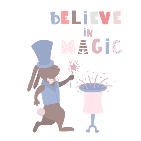 Cartoon bunny magician. Rabbit wizart circus artist. Greeting background. Vector Illustrtion
