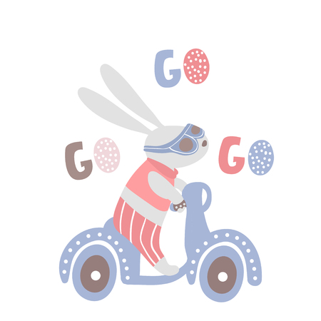 Cartoon bunny on scooter. Rabbit cartoon print for kids apparel, nursery. Greeting background. Vector Illustrtion