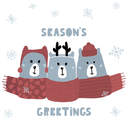 Seasons greeting quote. Cute winter greeting background with polar bears. Holiday and christmas illustration. It can be used for greeting card, posters, apparel