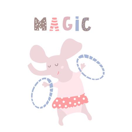 Cartoon elephant circus artist. Childish print for kids apparel, nursery. Greeting background. Vector Illustrtion Çizim