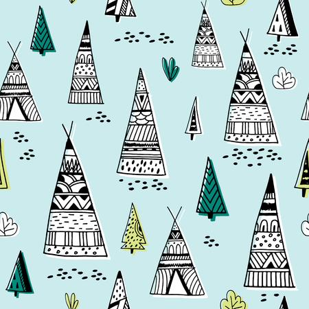 Stammen Indisch wigwampatroon. Krabbel kinderachtige minimalistische achtergrond Vector illustratie Stock Illustratie