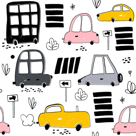 Seamless pattern with hand drawn cute car. Cartoon cars, road sign,zebra crossing vector illustration.Perfect for kids fabric,textile,nursery wallpaper Ilustração
