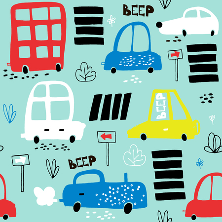 手描きかわいい車でシームレスなパターン。漫画の車、道路標識、横断歩道のベクトル図です。子供の生地、織物、保育園の壁紙に最適