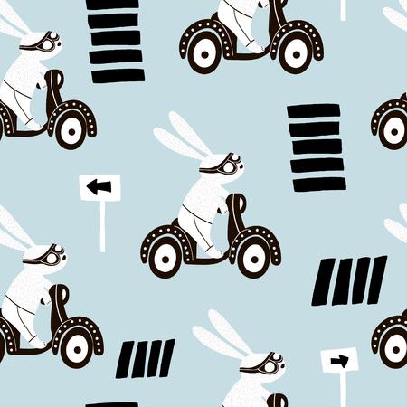 스쿠터에 4 개의 귀여운 토끼의 집합입니다. 보육, 의류, 직물, 섬유, 카드를위한 토끼와 크리 에이 티브 동물 프린트. 벡터 일러스트 레이션 일러스트